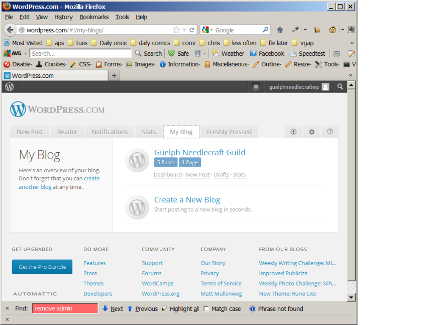 List of Blogs, as seen by GuelphNeedlecraftWP